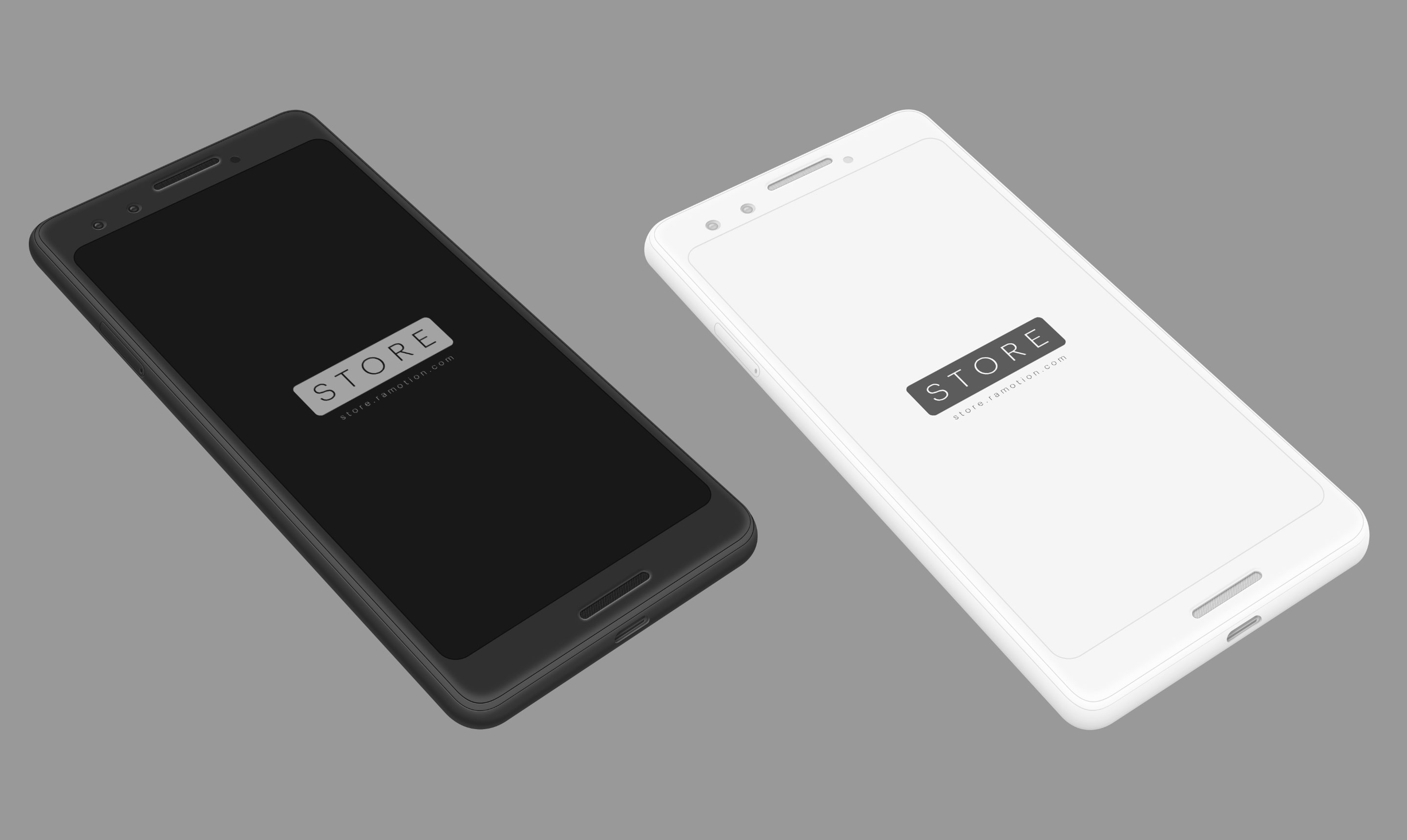 google pixel 3 clay white black perspective mockup top psd