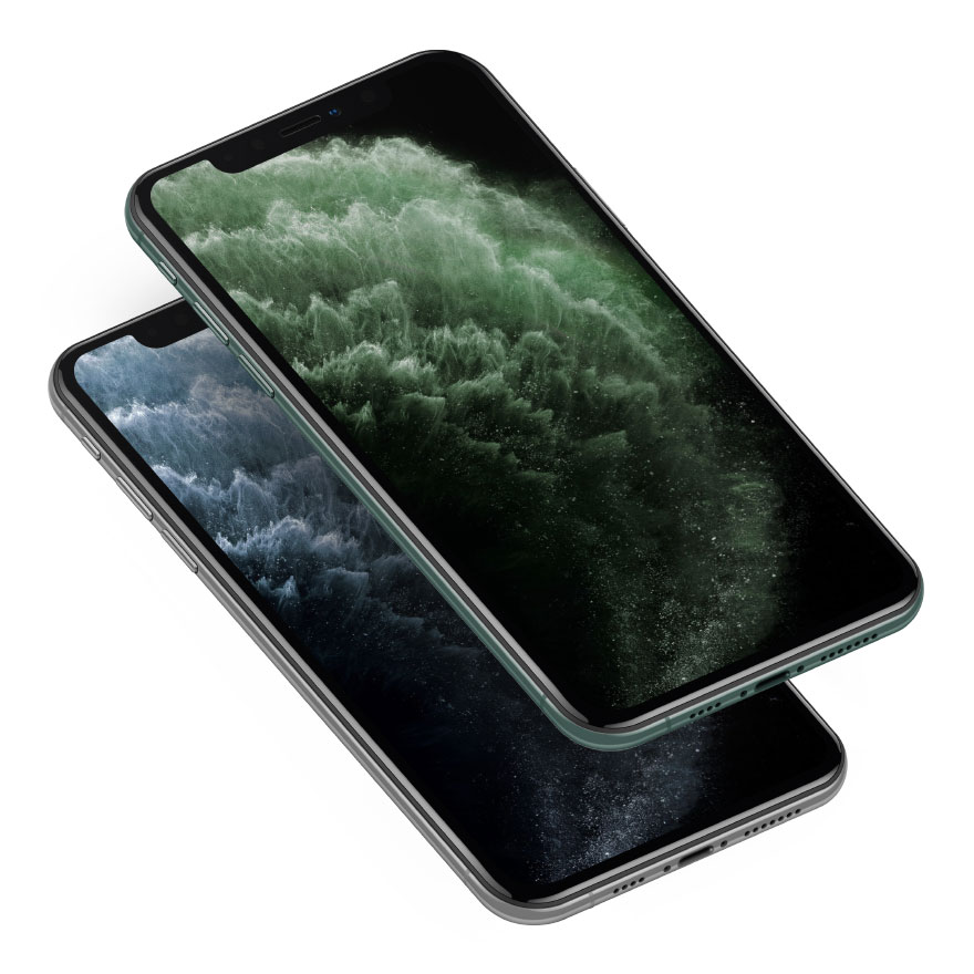 isometric midnight green silver iphone 11 mockup